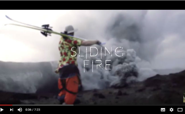 Freeride Ski on volcano: Sliding Fire